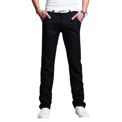 Fashion Men's Slim Fit Straight Leg Jeans Trousers Casual Pencil Business Pants