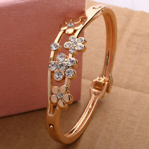 2 Fashion Women Jewelry Flower Crystal Gold Plated Charm Cuff Bangle Bracelet!