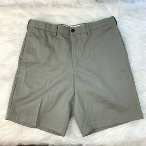 Lands-End-Men-039-s-Size-34-Traditional-Fit-Chino-Shorts-Flat-Front-Gray-Khaki
