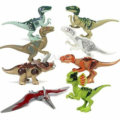 8Pcs Jurassic Park World Various Dinosaur Building Blocks Minifigure Toy Model
