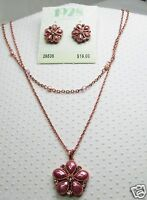 1928 Brand Rose Color Flower Necklace Matching Earrings Long Retired Style