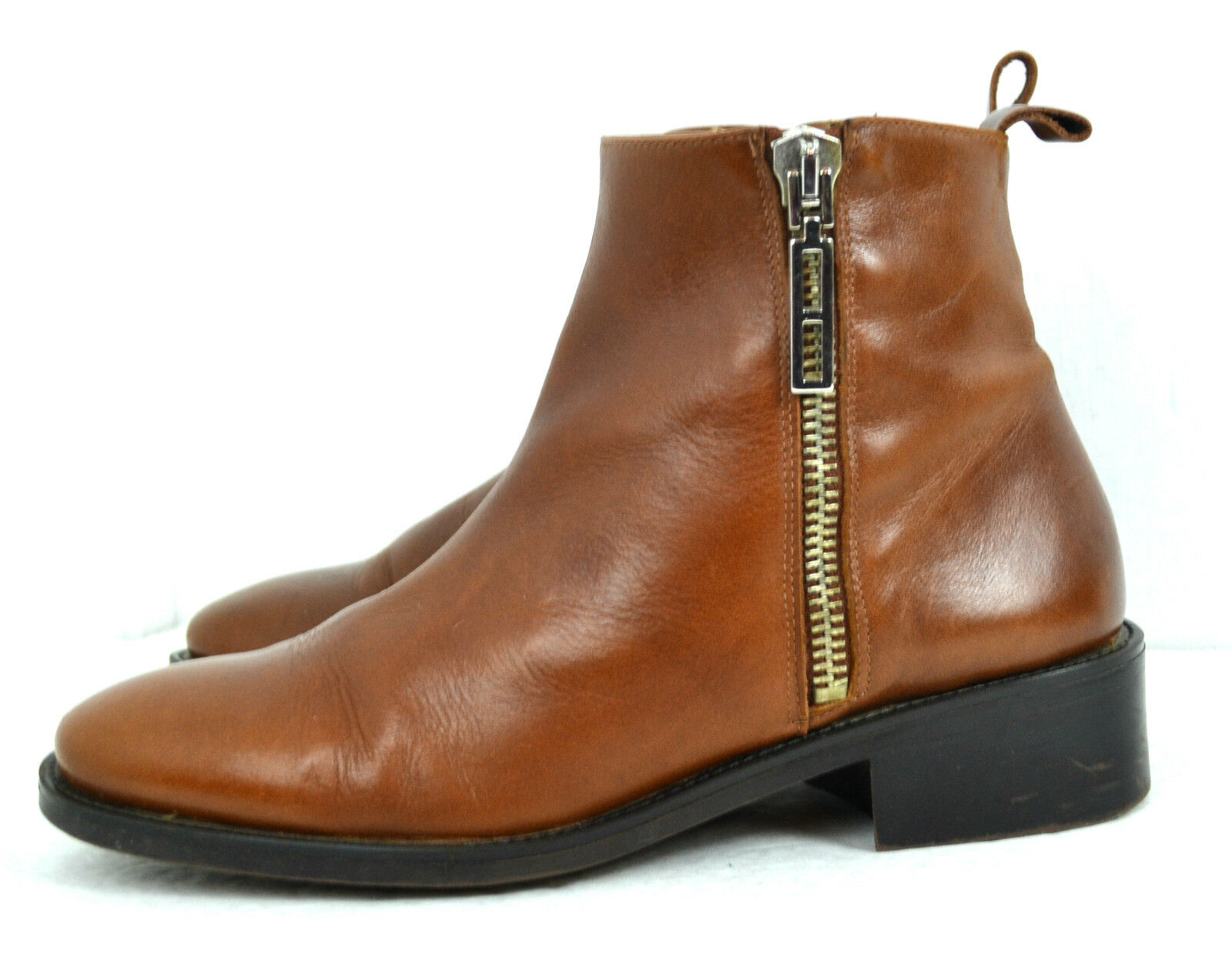 ZARA BASIC BROWN GENUINE LEATHER HIGH QULITY BOOTS SIZE 9-9.5/ 40