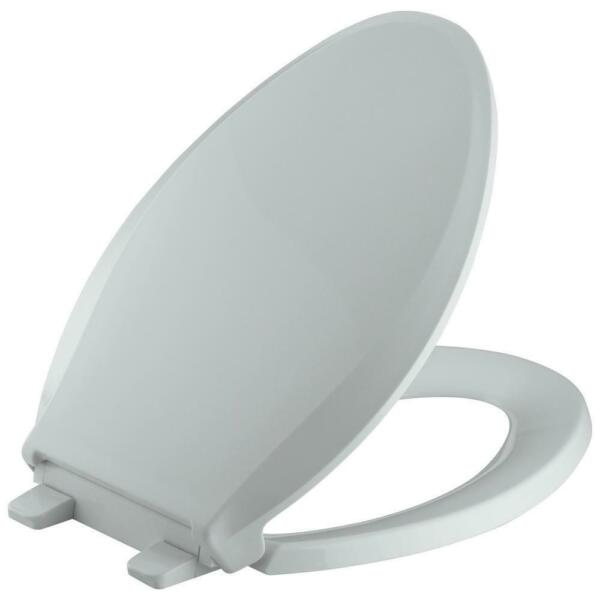 Kohler Bathroom Elongated Toilet Seat Lid Cover Slow Close Closed Front Grey New