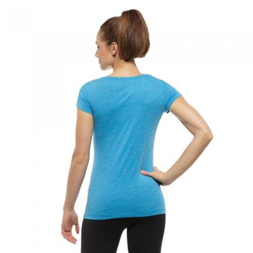 New Reebok Logo T-Shirt Top Gym Training Fitness Yoga Blue Ladies Womens