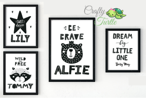 Personalised Nursery Prints//Baby Room Decor Pictures Children/'s Bedroom Scandi