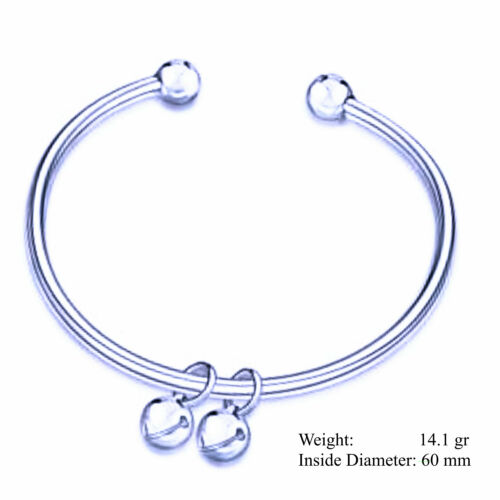 Bangle Bracelet 925 Sterling Silver S//F Solid Cuff Bead Double Bell Charm Design
