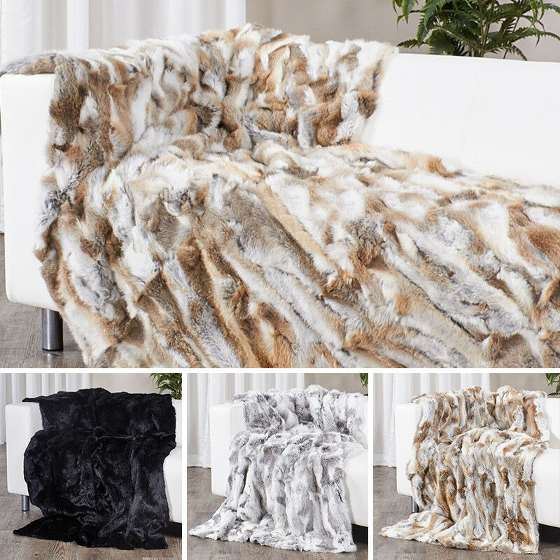 63''X55'' Real Farm Exotic Fur Throws High Quality Rabbit Pelts Blanket Vintage