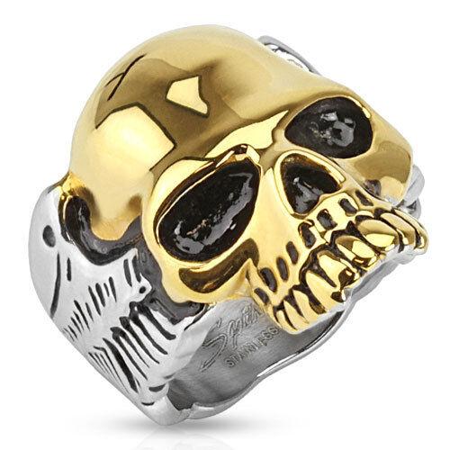 Totenkopf Ring Gold IP Skull Edelstahl Massiv Biker Gothic silber Herren Damen