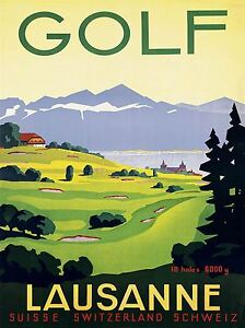 ART-PRINT-POSTER-TRAVEL-TOURISM-SPORT-GOLF-LAUSANNE-SWITZERLAND-NOFL1230