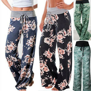 Plus-Size-Womens-Floral-Yoga-Palazzo-Trousers-Ladies-Loose-Wide-Leg-Pants-8-16