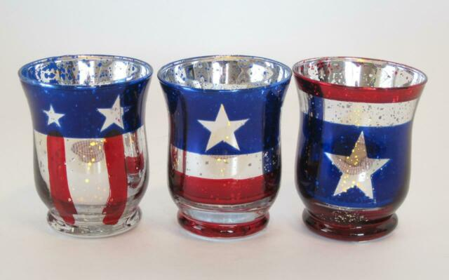 """Item PATRIOTIC GLASS STAR CANDLE HOLDERS 1""""X3"""" Red Clear Blue /& CANDLES SELECT"""