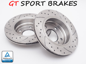 Drilled /& Grooved FRONT Brake Discs JEEP CHEROKEE 4.0 i 1998-On