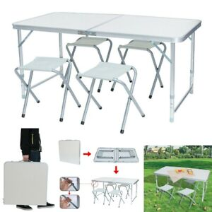 Details About Folding Camping Table And Chair Set 4 Person Portable Family Outdoor Picnic Desk