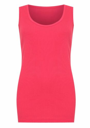 Ladies Sleeveless Ribbed Muscle Vest Womens Scoop Neck Casual Wear Plain Top