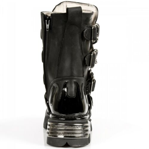 Gothic Spikes Black Biker s1 M Boots 727 Unisex New Rock Leather Chain And f0Panq7XqA