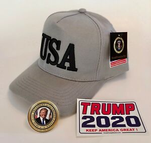 Donald-Trump-USA-45-Hat-Make-America-Great-Again-Cap-MAGA-Gray-2-Decals