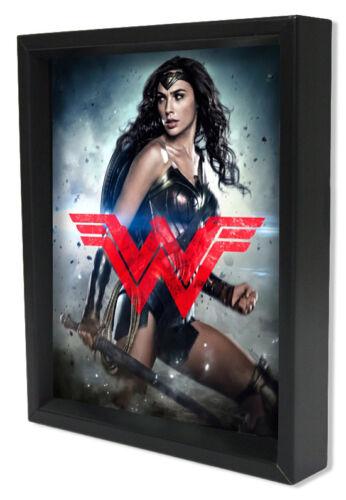 BATMAN V SUPERMAN-WW LOGO 8x10 3D SHADOWBOX DC COMICS WONDER WOMAN FILM MOVIE!!!