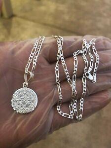 925-Sterling-Silver-Azteca-Maya-Calendar-Pendant-W-Necklace-24-034-chain