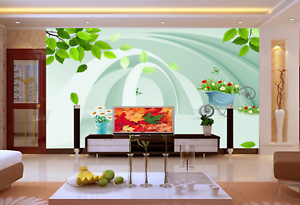 3D Arch Leaf 4687 Wallpaper Murals Wall Print Wallpaper Mural AJ WALL UK Kyra
