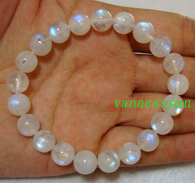 Natural Moonstone Round  Beads Stretch Bracelet 9mm