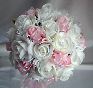 Wedding flowers brides posy bouquet white baby pink roses with image is loading wedding flowers brides posy bouquet white amp baby mightylinksfo