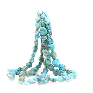 Beads-Dyed-Blue-Green-Magnesite-Nuggets-16-inch-strand-Chunky-USA-Seller
