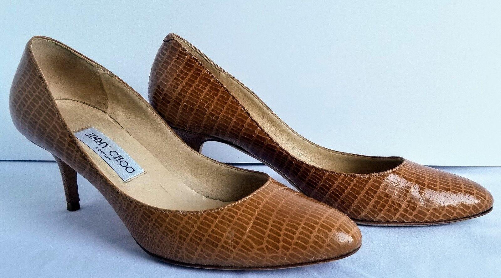 JIMMY CHOO Irena Lizard Embossed Leather Round Toe Pumps Heels 38½ US 7½ Sand