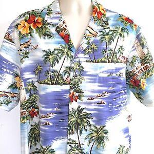 Royal-Creations-Mens-Aloha-Hawaiian-Shirt-Floral-XL-Made-In-Hawaii-Bold-Island