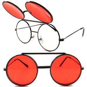 1d759922d0d Vintage Retro Mens Womens Django Lennon Black Flip Up Red Lens Round ...