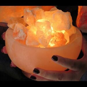 Details About Himalayan Salt Lamp Natural Gift Light Purifying Crystal Rocks In Big Bowl