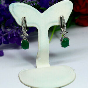 NATURAL-6-X-8-mm-OVAL-GREEN-CAMBODIA-EMERALD-amp-WHITE-CZ-EARRINGS-925-SILVER