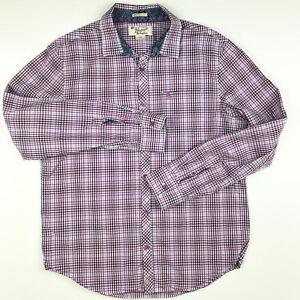 Penguin-Munsingwear-Mens-Shirt-Large-Pink-Purple-White-Check-Heritage-Slim-Fit