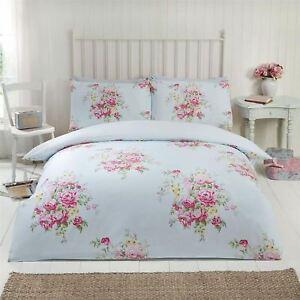 Maisie-Floral-Roses-Set-Housse-de-Couette-Double-Reversible-Literie-Sarcelle