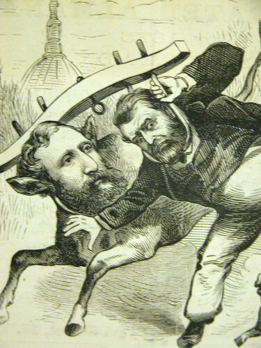 Kellogg and Grant CAN'T BE STOPPED 1878 Antique POLITICAL Engraving Art Matted