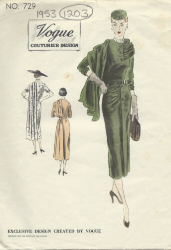1203 1953 Vintage Vogue Sewing Pattern vestido de B30