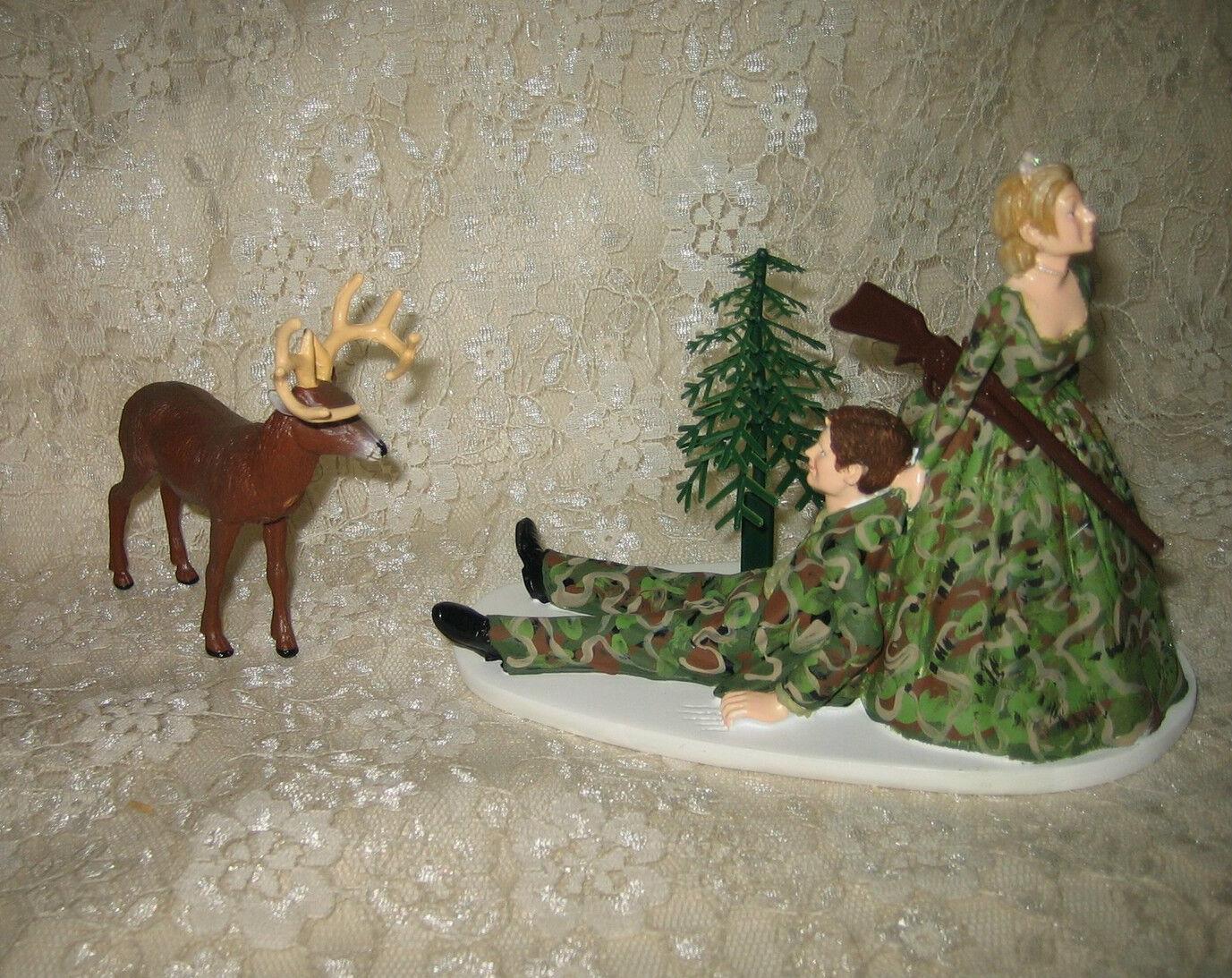 Mariage Fête Réception  bouseu Cake Topper  Mariée et marié Camo Deer Hunter