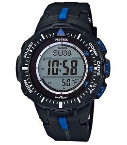 Casio-Pro-Trek-PRG300-1A2-Triple-Sensor-Ver-3-Tough-Solar-Black-w-Blue