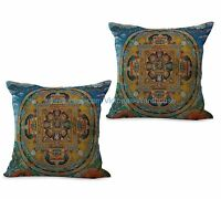 Us Seller- Set Of 2 Cushion Cover Tibetan Buddhism Mandala Decorative Pillowcase