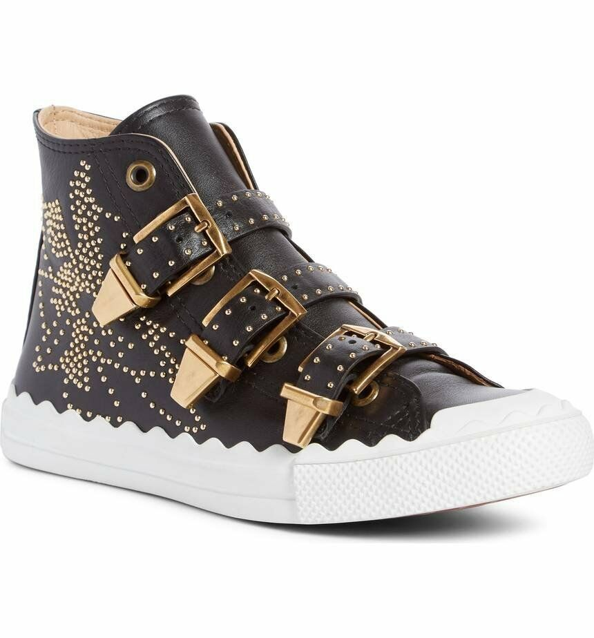 CHLOE Black Leather Studded Kyle Sneakers High Top Flat shoes Susanna 37 Boots