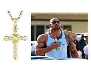 Herren-Kreuz-Kette-Gold-Edelstahl-Halskette-Anhaenger-Koenigskette-Dwayne-The-Rock