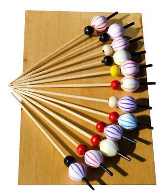 Premuroso Pallone A Righe Perline Legno Spiedo 12 Cm X100-goto-
