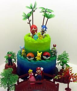 Enjoyable Sonic Mario Pokemon Deluxe Cake Topper Set Brand New Ebay Funny Birthday Cards Online Elaedamsfinfo