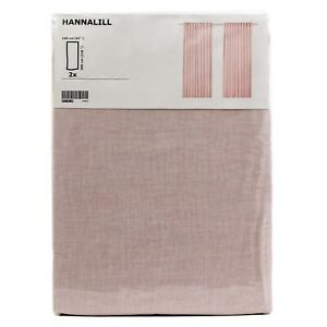 IKEA-HANNALILL-Gardine-Gardinenpaar-in-rosa-145x300-cm-Vorhang-Gardinenschals