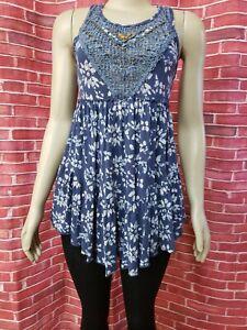 Free People Floral Blue Crochet Beaded Women's Tank Top Size M Sleeveless NEW #C