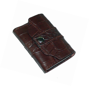 Leather Business Card Holder Handmade Crocodile Grain