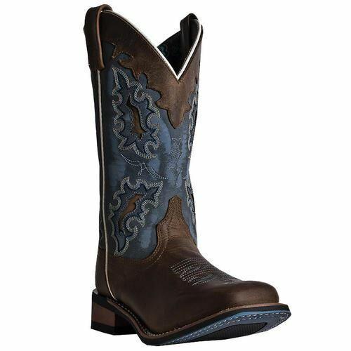 Laroto Damen Isla Western Cowboy Leder Stiefel Hellbraun Blau Denim 5666