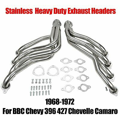For Chevelle Camaro Heavy Duty Headers Black coated For 68-72 BBC Chevy 396 454
