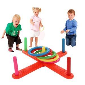 Ring Toss Jeux Quoits Hoopla Set Quiots Pegs Rope Target Enfants Garden Party
