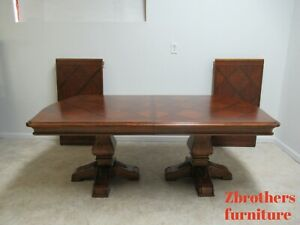 Ethan-Allen-Tuscany-French-Louis-XV-Pedestal-Dining-Room-Table-Conference-Banque