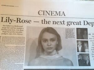 Details about LILY-ROSE DEPP interview VANESSA PARADIS JOHNNY UK 1 DAY  ISSUE 2015